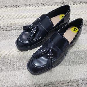 ZARA Trafaluc Black Studded Tassels Loafers